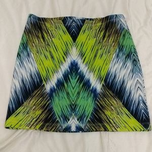 Milly green white blue abstract mini skirt size m